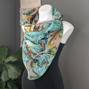 Palm and Floral Scarf